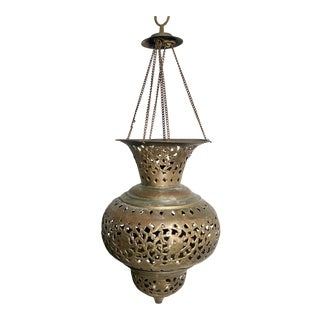 Vintage Moroccan Turkish Pierced Brass Pendant Teardrop Lamp Lantern For Sale