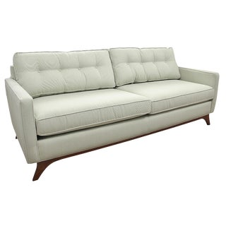 New Mid Century Modern Style Robert Allen Hand-Built Pale Green Sofa For Sale