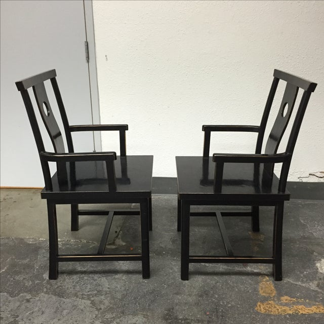 Black Solid Wood Lacquered Chairs - A Pair - Image 5 of 10