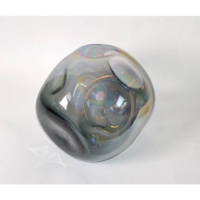 Blown Smoked Glass Vase Mid-Century Modern With Mirror Coating & Round Indents For Sale - Image 10 of 13
