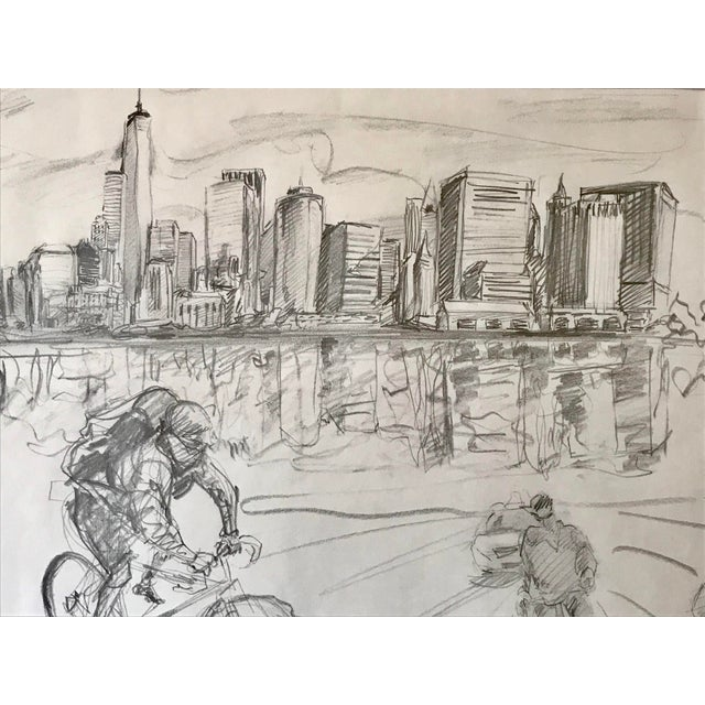 New York Manhattan Skyline Figures Drawing by Tom Christopher For Sale - Image 4 of 9
