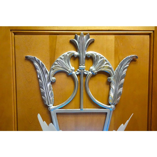 Art Deco Deco Style Movie Theater Pair of Wall Light Sconces Mounted on Wood Panels For Sale - Image 3 of 13