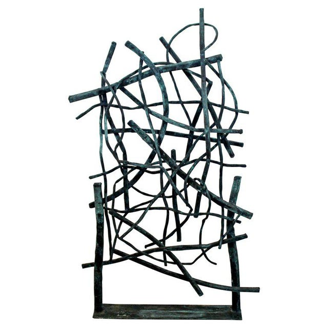 Contemporary Forged Painted Copper Metal Abstract Table Sculpture Robert Hansen For Sale - Image 9 of 9