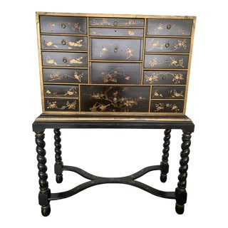 Chinoiserie Painted Black Cabinet on Stand For Sale