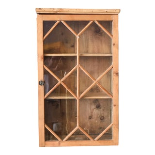 English Pine Fretwork Glass Door Vitrine