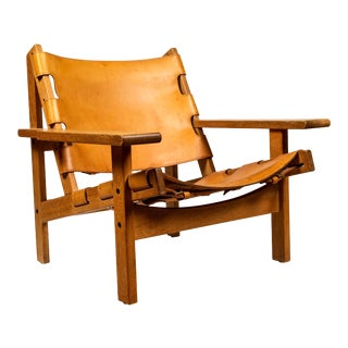 1960s Erling Jessen Oak and Leather Lounge Chair For Sale