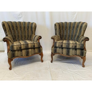 1930s Vintage Chenille Channel Back Chairs- Pair Preview