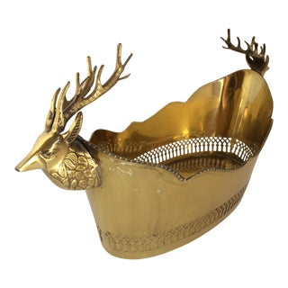 Vintage Brass Stag Handle Open Filigree Bowl