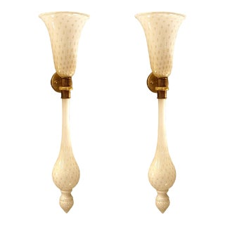 Large Mid-Century Modern White/Gold Murano Glass Sconces, Venini Style - a Pair For Sale