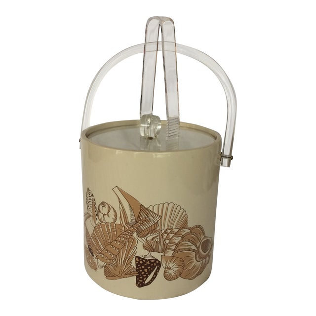Sigma Lucite & Vinyl Seashell Ice Bucket & Tongs - 1970's For Sale