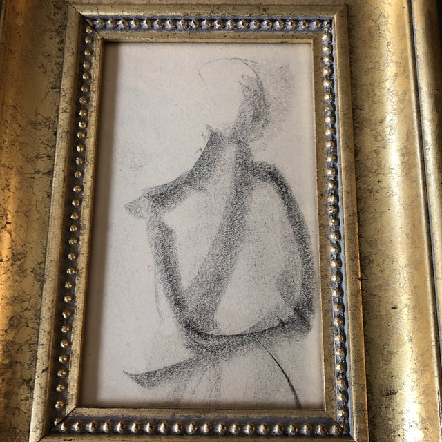 Original charcoal drawing on paper unsigned sketch 5 x 8 overall size with vintage frame is 9.5 x 12.5