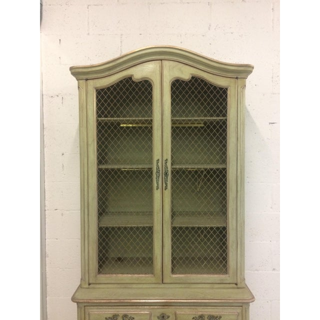 French Provincial 1960s French Provincial Stepback Cupboard With Wire Mesh For Sale - Image 3 of 8