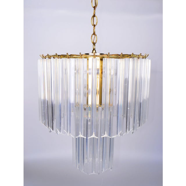 Round Two Tier Brass and Lucite Chandelier - Image 6 of 11