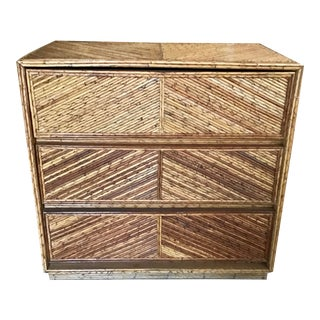 Pencil Reed Rattan Chevron Pattern Chest For Sale