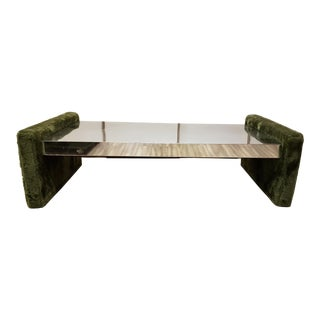 1970's Adrian Pearsall Style Mirrored Shag Coffee Table For Sale