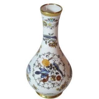 German Hand Painted Bird & Floral Vase For Sale