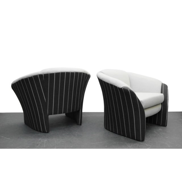 Textile Pair of Oversized Barrel Back Italian Lounge Chairs with Splayed Arms For Sale - Image 7 of 7