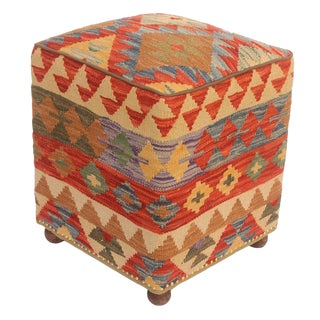 2010s Judy Rust and Brown Kilim Handmade Ottoman