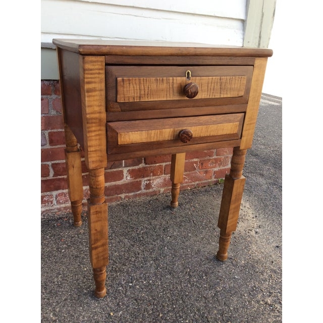 Antique Tiger Maple and Cherry 2 Drawer Stand For Sale - Image 9 of 9