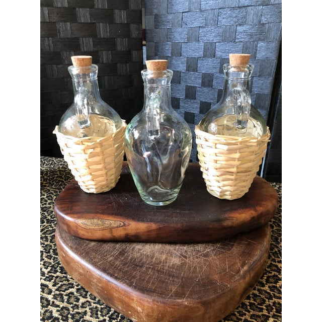 Mid 20th Century Wicker Wrapped Demijohn Bottles - Set of 3 For Sale - Image 5 of 13