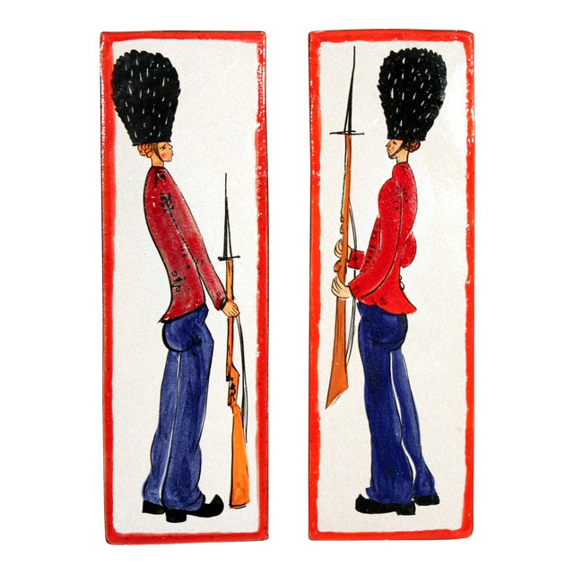 1960s Pottery Italian Petucco Tiles Beefeater Raymor Hanging Plaques Ceramic - a Pair For Sale