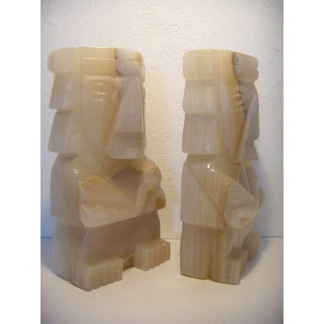 Vintage Pair of Onyx Stone Bookends, Statues or Figures For Sale - Image 4 of 7