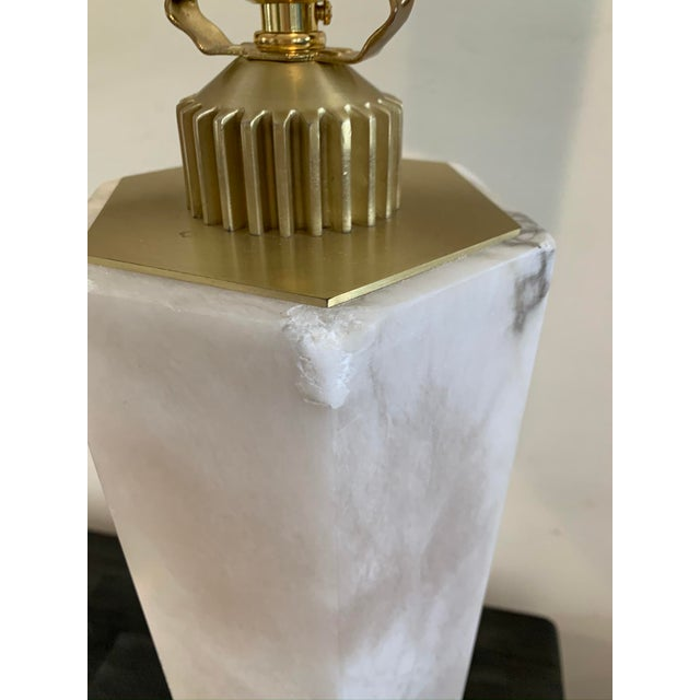 Hexagonal Alabaster Table Lamp For Sale In Los Angeles - Image 6 of 9