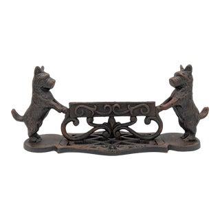 Vintage Black Cast Iron Scottie Dog Boot Scraper For Sale