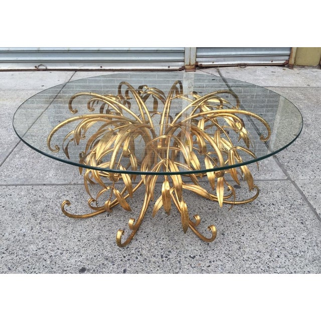 Italian Gilt Metal Floral Coffee Table For Sale - Image 4 of 5