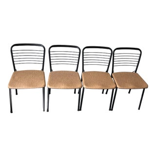 Black and Beige Fashionfold Cosco Chairs - Set of 4 For Sale
