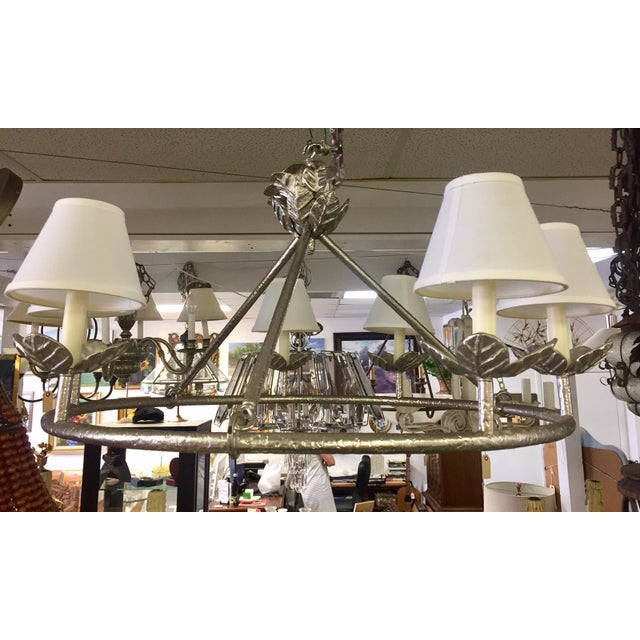 Shabby Chic 1960s Shabby Chic Vaughn Montferat Hammered Silver Chandelier For Sale - Image 3 of 10