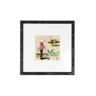 1970s Asian Antique Village Life Painting For Sale