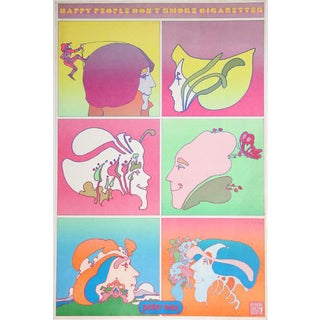 "1970 Peter Max ""Happy People Don't Smoke"" Poster For Sale"