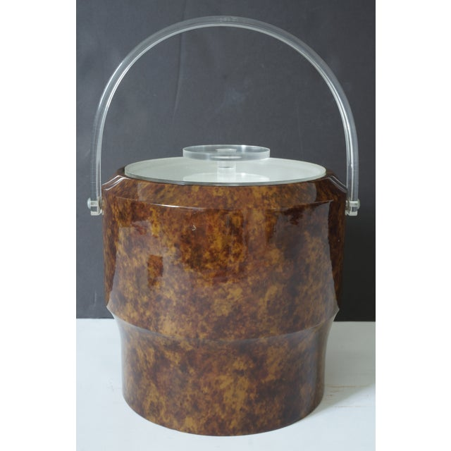 Vintage Saks 5th Ave Nyc Ice Bucket - Faux Tortoise Shell and Lucite For Sale - Image 4 of 10