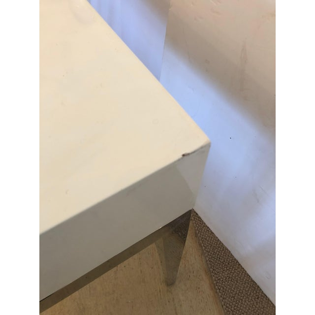 White Contemporary Jonathan Adler White Lacquer and Chrome Console For Sale - Image 8 of 12