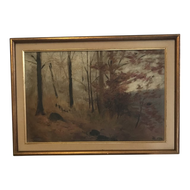 1910s Original Signed and Dated (1910) Oil Landscape Painting For Sale