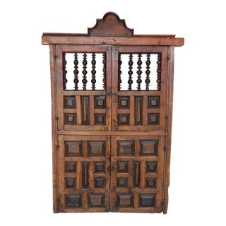 18th Century Wooden Window Shutters with Panels and Turned Wood For Sale