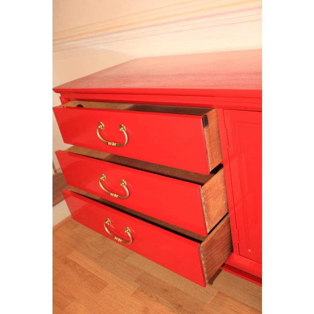 Basset Chinoiserie Red Lacquered Dresser Credenza For Sale - Image 10 of 10