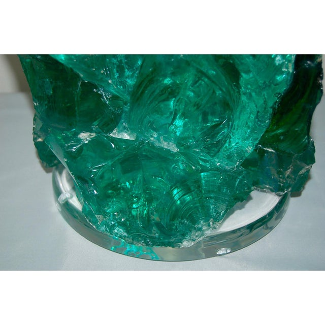 Glass Glass Rock Table Lamps by Swank Lighting Jade Green For Sale - Image 7 of 9