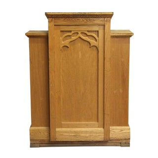Late 20th Century Antique Gothic Wooden Three Paneled Podium For Sale