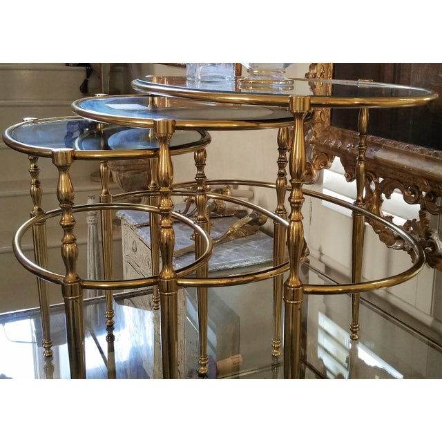 Mid-Century Modern Mid Century Brass Oval Nesting Tables For Sale - Image 3 of 7