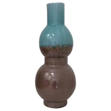 Large Blue and Brown Glazed Vase - Image 1 of 3