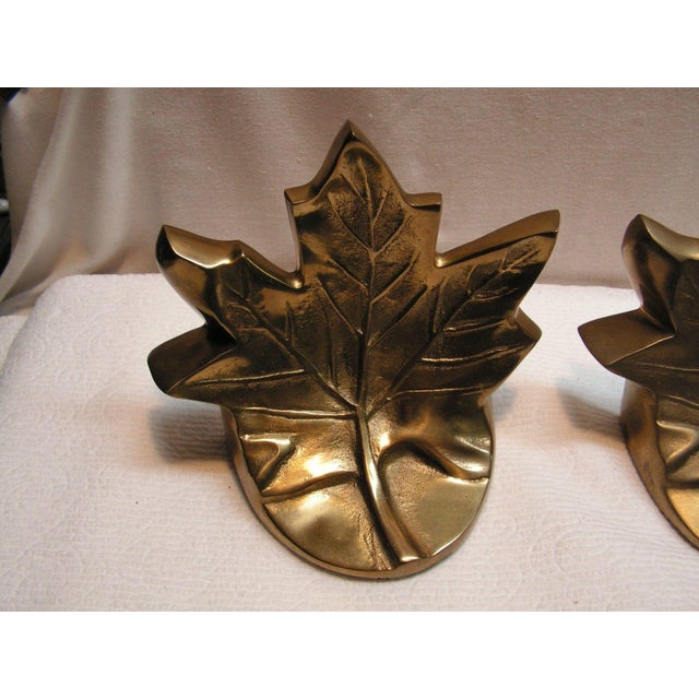 Traditional Vintage Brass Maple Leaf Bookends - A Pair For Sale - Image 3 of 5