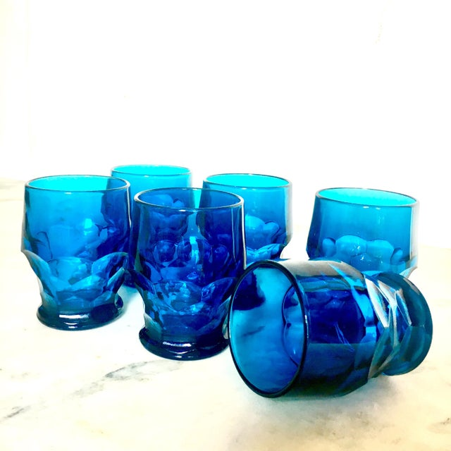 Blenko 1960s Mid-Century Turquoise Blue Water Glasses - Set of 6 For Sale - Image 4 of 4