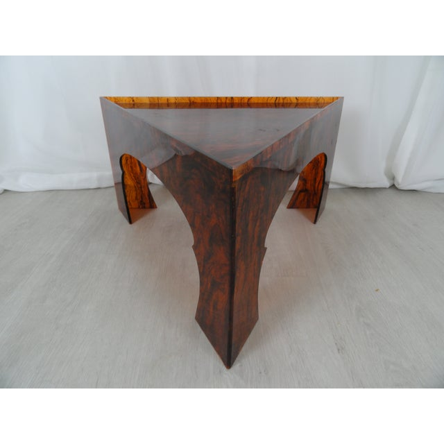 Brown 1970s Hollywood Regency Faux Tortoiseshell Acrylic Triangle Table - Short For Sale - Image 8 of 8