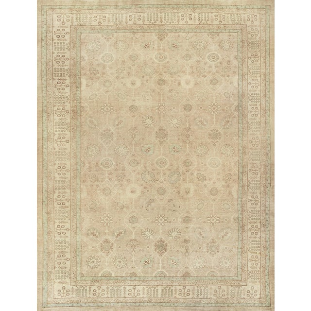 Taupe Handwoven Tabriz Style Wool Revival Rug For Sale - Image 8 of 8