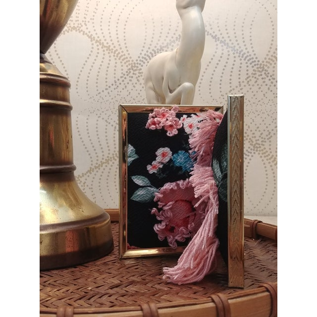 Boho Chic Contemporary Floral Fabric Tapestry in Double Frame For Sale - Image 3 of 7