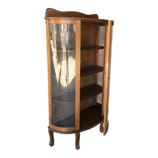 Antique Traditional Amish Oak Curio Cabinet For Sale