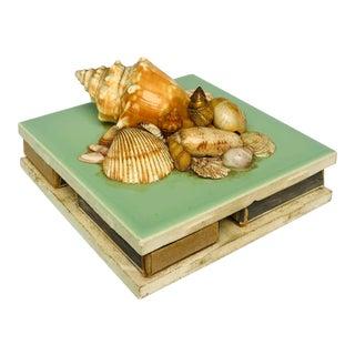 Vintage Shell-Encrusted Matchbox Holder For Sale