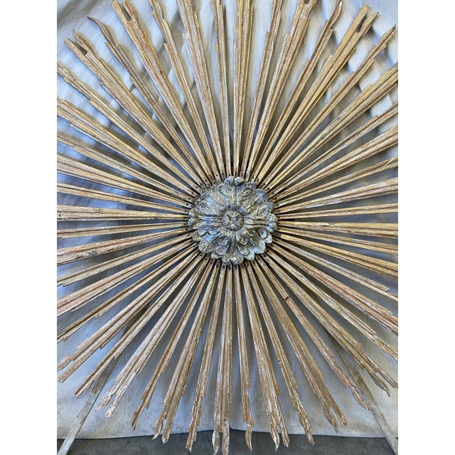 Gold Italian Gilt Wood Sunburst Tuscan Wall Art Hanging For Sale - Image 8 of 10